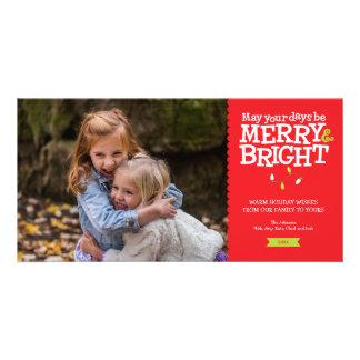 Glatt & ljust roligt kort för julljusfoto fotokort