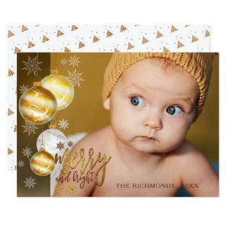 Glatt och ljust, guld & brunt, ett foto 12,7 x 17,8 cm inbjudningskort