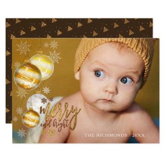 Glatt och ljust, guld & brunt, singelfoto 12,7 x 17,8 cm inbjudningskort