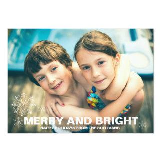 Glatt och ljust kort för snöflingorjulfoto 12,7 x 17,8 cm inbjudningskort