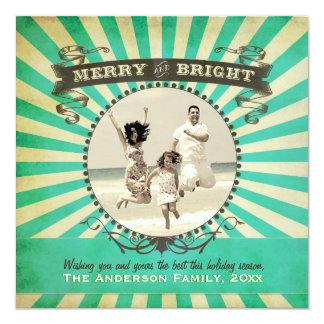 Glatt och ljust Retro fotohelgdagkort - blått Fyrkantigt 13,3 Cm Inbjudningskort