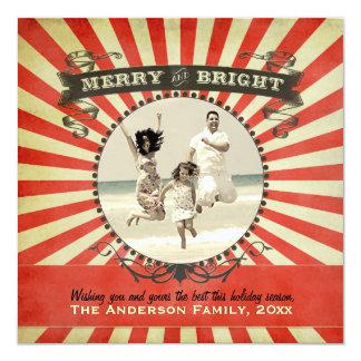 Glatt och ljust Retro rött fotohelgdagkort - Fyrkantigt 13,3 Cm Inbjudningskort