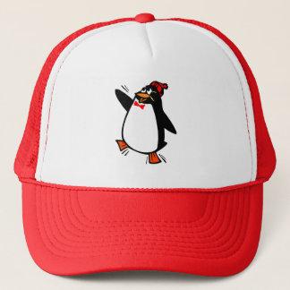 Glatt pingvin i hatt och fluga truckerkeps