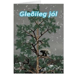 Gleðileg jól - Porcupine i ett grästräd Hälsningskort
