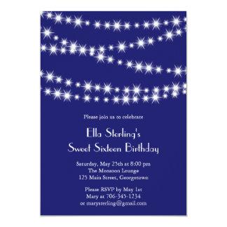 Glimt tänder födelsedaginbjudan (indigoblått) 12,7 x 17,8 cm inbjudningskort