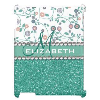Glitter för blomma för AquaturkosMonogram iPad Fodral