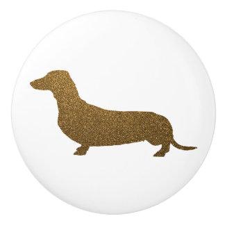 Glitter för Faux för taxhundsymbol (till vänstert) Knopp