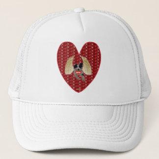 Glitter för hjärta för hatthundCupid rött Truckerkeps