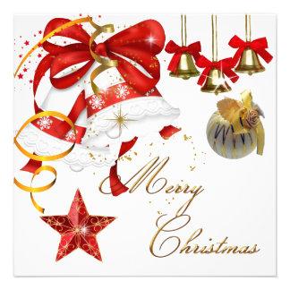 Glitter för julafton för god julpartyvit guld- röt inbjudan