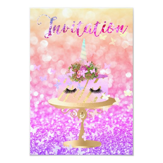 Glitter för tårtaUnicornparty piskar den rosa 8,9 X 12,7 Cm Inbjudningskort
