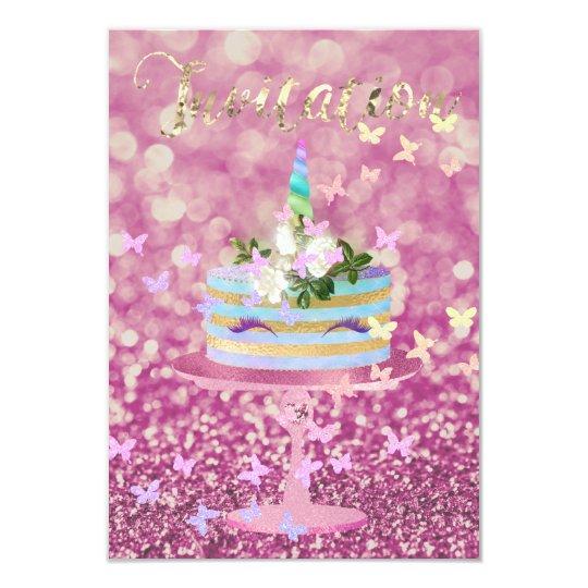Glitter för tårtaUnicornparty piskar rosa rosGlam 8,9 X 12,7 Cm Inbjudningskort