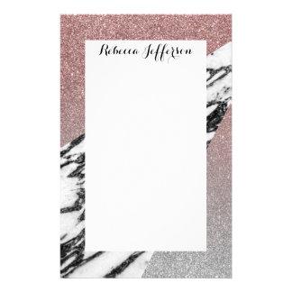 Glitter och marmor för silver rosa geometriska brevpapper