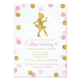 GlitterBallerina, rosor och guldgnistrafödelsedag 12,7 X 17,8 Cm Inbjudningskort