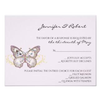 Glitterfjäril på lavendelsvarskort 10,8 x 14 cm inbjudningskort