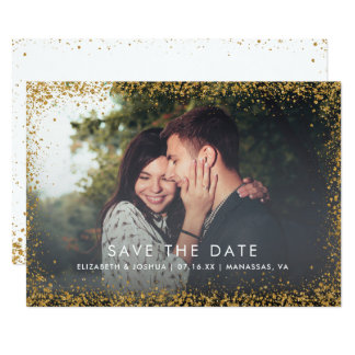 Glittergränsspara det guld- glitter för dateraFaux 12,7 X 17,8 Cm Inbjudningskort
