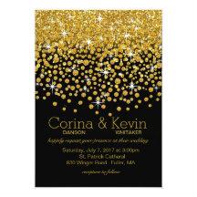 Glitterkonfettidusch som gifta sig | guldsvart 12,7 x 17,8 cm inbjudningskort