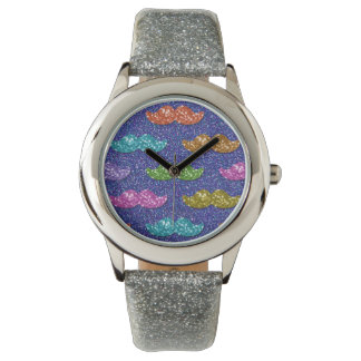 GlitterMoustachemönster Armbandsur