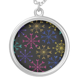 GlittersnöflingorShimmer på svart Silverpläterat Halsband