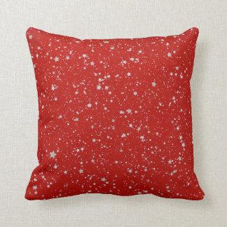 Glitterstjärnor - rött silver kudde