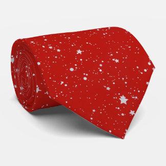 Glitterstjärnor - rött silver slips