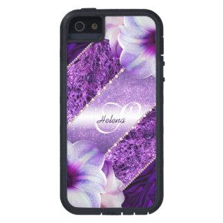 GlitterVioletMonogram iPhone 5 Case-Mate Fodral