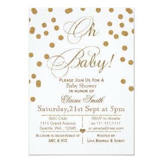 Glittervit och guldbaby showerinbjudan 12,7 x 17,8 cm inbjudningskort