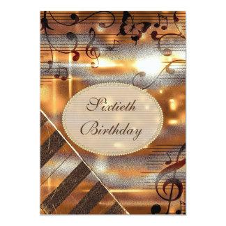 Glittery 60th födelsedag för silver- & guldmusik 12,7 x 17,8 cm inbjudningskort