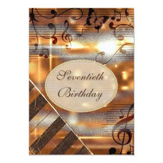 Glittery 70th födelsedag för silver- & guldmusik 12,7 x 17,8 cm inbjudningskort