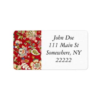 Glittery blom- Tapestry på rött Adressetikett