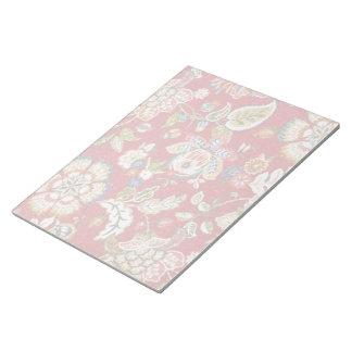 Glittery blom- Tapestry på rött Anteckningsblock