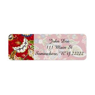 Glittery blom- Tapestry på rött Returadress Etikett
