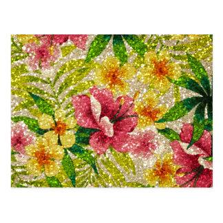 Glittery blommor för rosor & för gult vykort