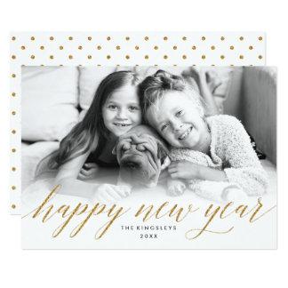 Glittery fotokort för nytt år i guld- glitter för 12,7 x 17,8 cm inbjudningskort