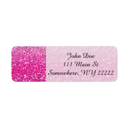Glittery rosa Ombre Returadress Etikett