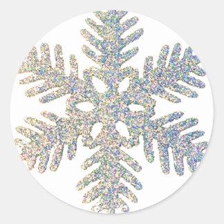 Glittery Snowflake Runt Klistermärke