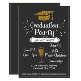 Glittery svart tavlastudentfestinbjudan 12,7 x 17,8 cm inbjudningskort