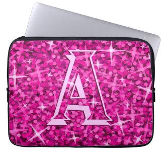 """Glitzrosa laptop sleeve 13 för monogram"""" flytta laptopfodral"""