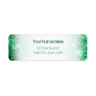 Glitzy grönt glitter returadress etikett