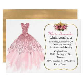 Glitzy rosa kappaQuinceañera inbjudan
