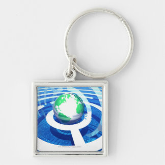 Global kommunikation, begreppsmässig dator 2 fyrkantig silverfärgad nyckelring