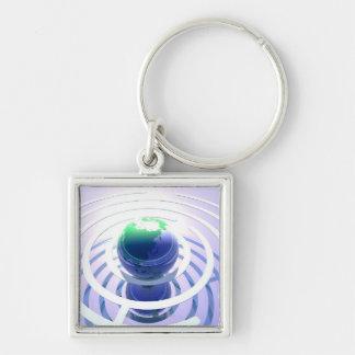 Global kommunikation, begreppsmässig dator fyrkantig silverfärgad nyckelring