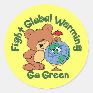 Global värme för slagsmål runt klistermärke