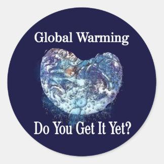 Global värme runt klistermärke