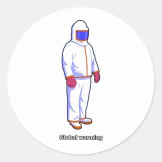 Global värme värmer kostymklistermärken runt klistermärke