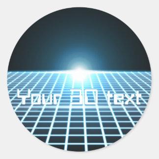 Glödande 3D-Grid med anpassadetext Runt Klistermärke