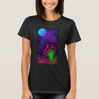 glödande champinjonvärld för neon t shirt