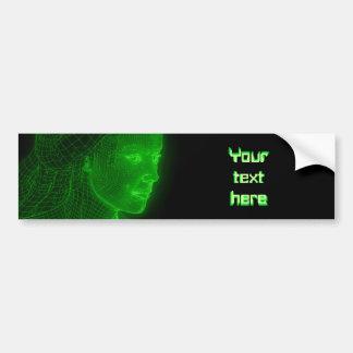 Glödande Cyberspace Cyberwoman - anpassadetext Bildekal