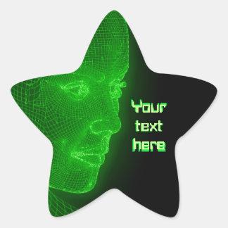 Glödande Cyberspace Cyberwoman - anpassadetext Stjärnformat Klistermärke