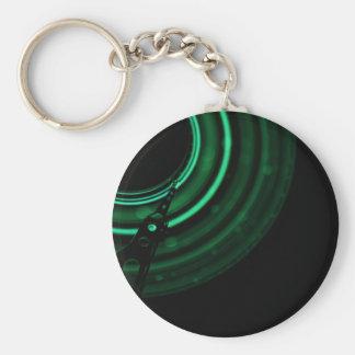 Glödande gröna mekaniker rund nyckelring