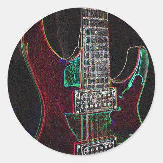 Glödande Guitar.jpg Runt Klistermärke